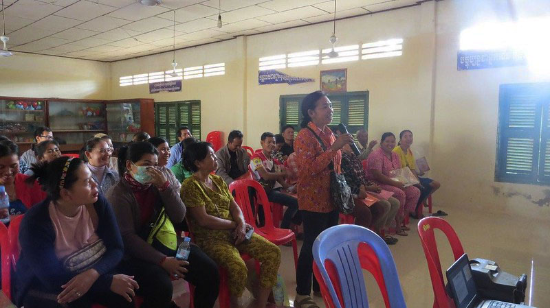 Mothers in Battambang, Cambodia, learned about road traffic laws and the importance of safe road behaviors during major upcoming holidays, such as Khmer New Year.
